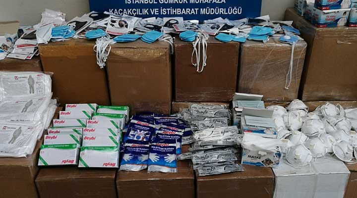 İstanbul'da 2 milyonu aşkın tıbbi koruyucu malzeme ele geçirildi
